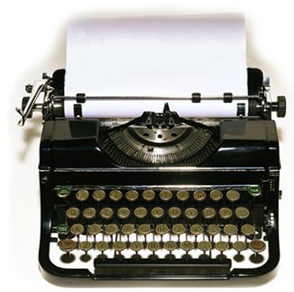 Typewriter with blank sheet of paper for copywriting