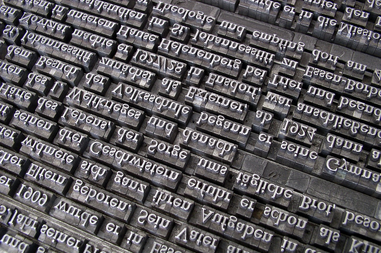 Blocks of letters for printing