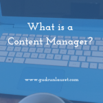 What is a content manager written in white text over a blue laptop