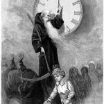 Father Time holding a sickle.