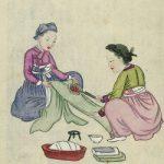Two women using hot metal to iron fabric