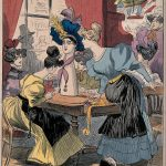 Women looking at a hat on a milliner's dummy