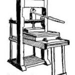 The Gutenberg printing press, used for dictionary printing