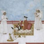 18th century gentleman smoking hookah pipe, which was offered in curry houses