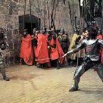 Macbeth fights Macduff at Dunsine Castle (Bamburgh)