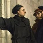 Three men looking at a notice during the European Reformation
