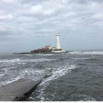 St Mary's Lighthouse, as seen from the end of the causeway