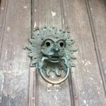 A door knocker, possibly in the shape of a lion's head, from the front door of Durham Cathedral