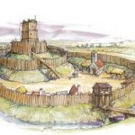 A sketch of a motte and bailey structure
