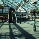 The glass roof and foot bridge at Tynemouth metro station