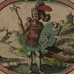 Illustration of a man in armour, wearing a crown and holding an axe and a shield.