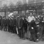 A row of unemployed men in 1930s Canada