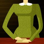 A headless woman in a green dress with white collar. She is writing on a piece of paper on a table in front of her.