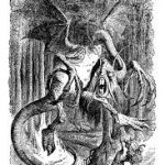 A black and white pencil sketch of the ficticious jabberwock, a dragon-like creature standing in a wood.
