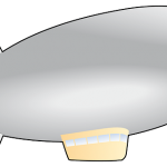An illustration of a blimp-style airship