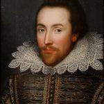 Colour portrait of William Shakespeare, wearing a white ruff