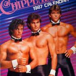 Three shirtless men in collar, cuffs and black trousers on the cover of the Chippendales 1987 calendar