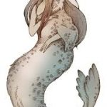 An illustration of a half-woman, half-seal creature known as the Selkie
