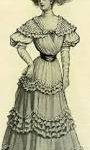 A black and white drawing of a young Victorian woman in a full-skirted dress and a bonnet