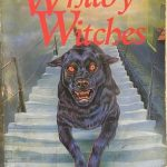 The cover of Robin Jarvis' The Whitby Witches, showing a red-eyed, large black dog running down steps