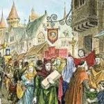 A medieval fair, with people in brightly coloured clothes looking at stalls
