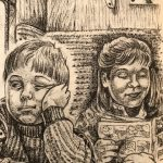 An illustration of a small boy in a jumper, leaning his head on his hand and looking bored. An older girl sits beside him, smiling as she reads a comic. Taken from the book The Whitby Witches