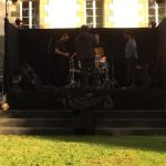 Band setting up for a music festival