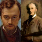 Dante Rosettti on the left, with red hair and beard, dark jacket and red jumper. On the right, grey-haird and brown-jacketed Millais