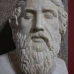 A bust of Greek poet Homer, with long beard and curly hair