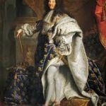 Louis XIV, wearing a long white robe.