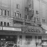 A black and white photograph of the Odeon cinema frontage, Newcastle