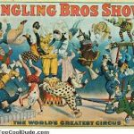 An old poster for Ringling Bros Circus, with colourfully-dressed performers falling over