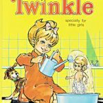 A little blonde girl in an orange dress pours water from a can onto a small doll. A little dog watches. Cover of Twinkle comic