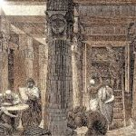 An illustration of scholars reading papers and clustered around a large stone column