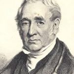 An illustration of George Stephenson, wearing black coat and white shirt. He has grey hair.