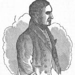 A black and white sketch of a dark haired man in profile, wearing a frock coat and waistcoat