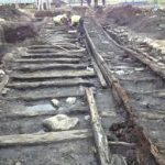 An old wooden railway track